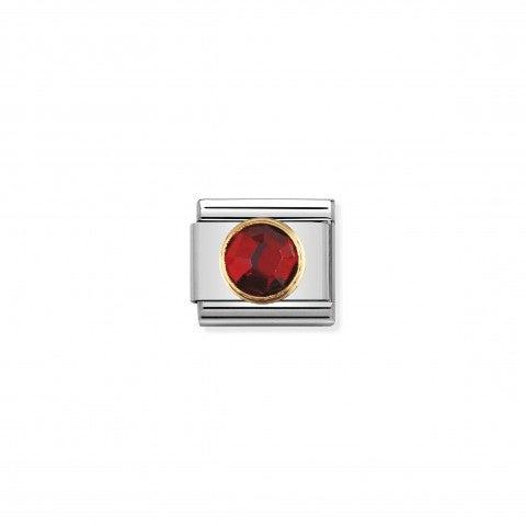 Link_Composable_Classic_Pietra_rosso_tonda_in_Oro_Link_con_Cubic_Zirconia_sfaccettato_tondo_rosso