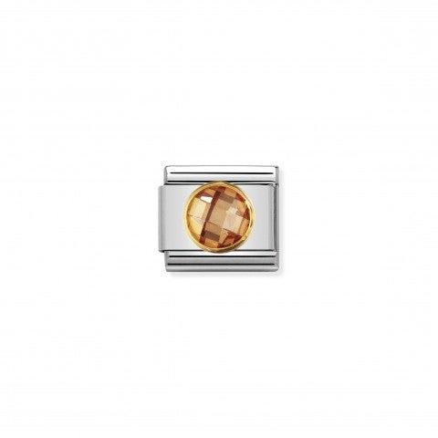 Link_Composable_Classic_Pietra_champagne_tonda_in_Oro_Link_con_Cubic_Zirconia_sfaccettato_tondo_champagne