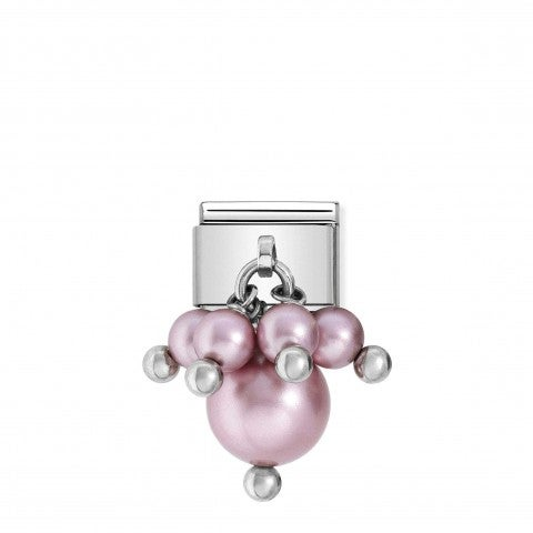 Link_Composable_classic_argento_perle_rosa_Link_in_acciaio_e_perle_colorate_Chic