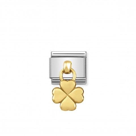 Link_Composable_Classic_Quadrifoglio_Pendente_in_Oro_Link_Pendente_in_Acciaio_con_simbolo_quadrifoglio
