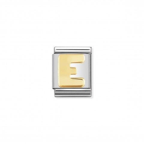Link_Composable_Big_Lettera_E_in_Oro_Link_con_lettera_E_alfabeto_in_Acciaio_e_Oro_750