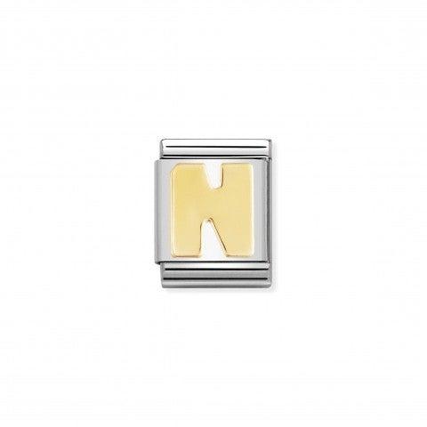 Link_Composable_Big_Lettera_N_in_Oro_Link_con_lettera_N_dell'alfabeto_in_Acciaio_e_Oro_750