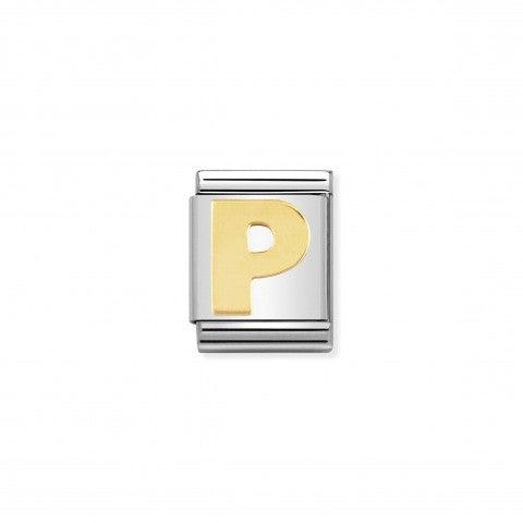 Link_Composable_Big_Lettera_P_in_Oro_Simbolo_lettera_alfabetica_in_Acciaio_e_Oro_750