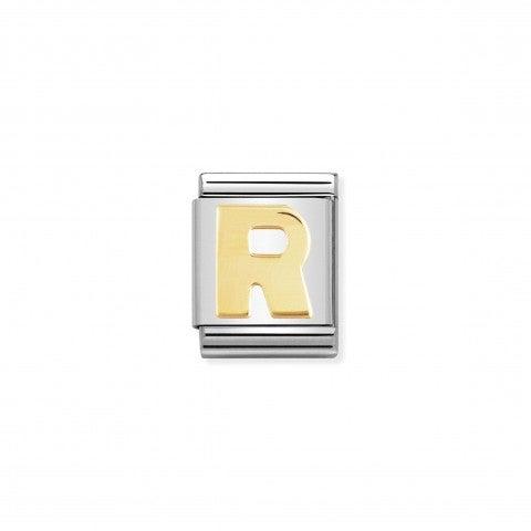 Link_Composable_Big_Lettera_R_in_Oro_Lettera_R_dell'alfabeto_in_Acciaio_e_Oro_750