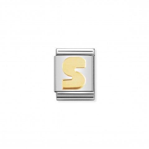Link_Composable_Big_Lettera_S_in_Oro_Lettera_dell'alfabeto_in_Oro_750_e_Acciaio