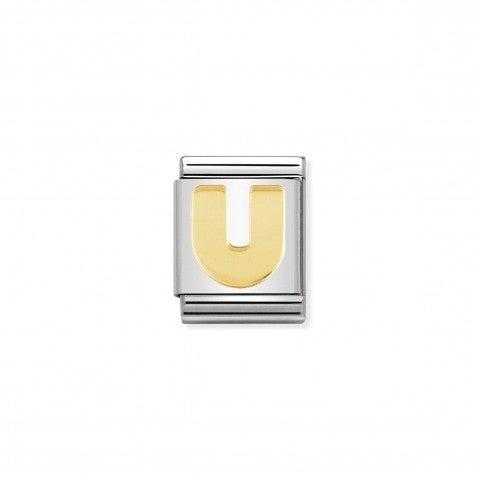 Link_Composable_Big_Lettera_U_in_Oro_Link_con_lettera_in_Acciaio_e_dettagli_in_Oro_750