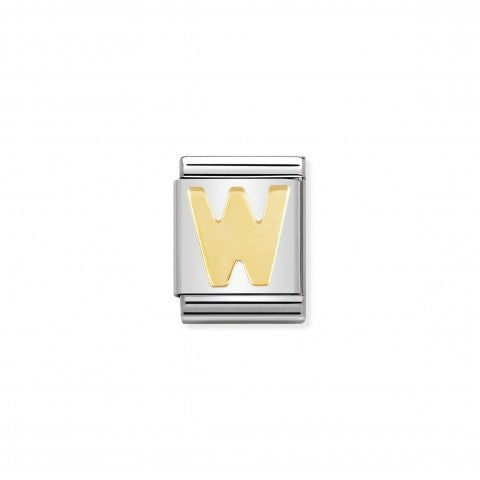 Link_Composable_Big_Lettera_W_in_Oro_Lettera_W_dell'alfabeto_in_Acciaio_e_Oro_750