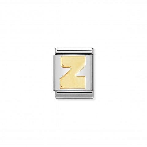 Link_Composable_Big_Lettera_Z_in_Oro_Link_con_lettera_alfabetica_Big_in_Acciaio_e_Oro_750