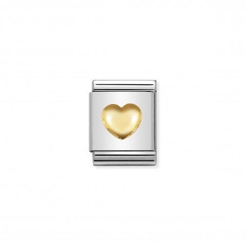 Link_Composable_Big_Cuore_bombato_in_Oro_750_Link_Big_con_simbolo_d'amore_in_Acciaio_e_Oro_750