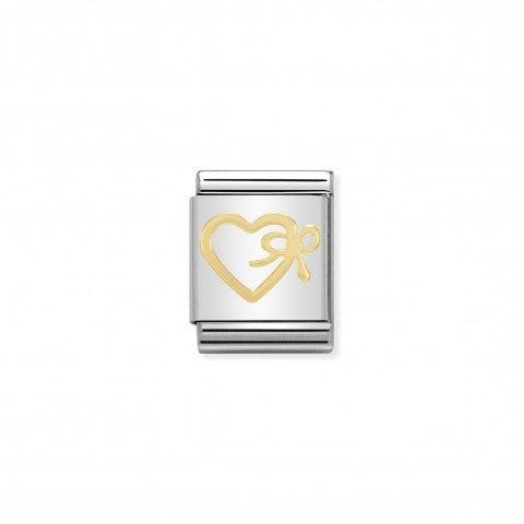 Link_Composable_Big_Cuore_con_fiocco_in_Oro_750_Link_in_Acciaio_e_Oro_750_con_simbolo_romantico