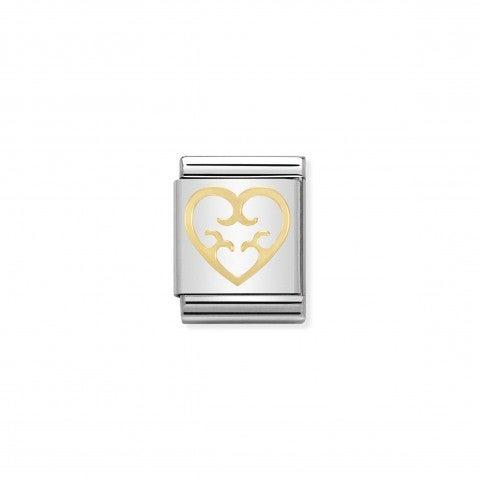 Link_Composable_Big_Cuore_con_cuori_in_Oro_750_Link_in_Acciaio_con_simbolo_cuore_in_Oro_750