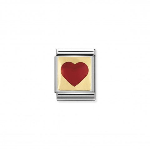 Link_Composable_Big_Cuore_positivo_rosso_Link_con_cuore_positivo_rosso_in_Acciaio_e_Oro_750