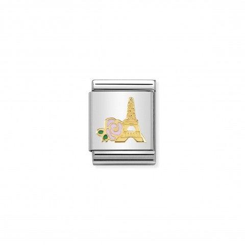 Link_Composable_Big_Rosa_e_Torre_Eiffel_Link_d'amore_in_Oro_750_con_simbolo_Parigi