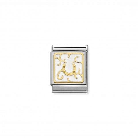 Link_Composable_Big_Placca_ferro_di_cavallo_Link_collezione_Elegance_in_Oro_750_e_Smalto_bianco