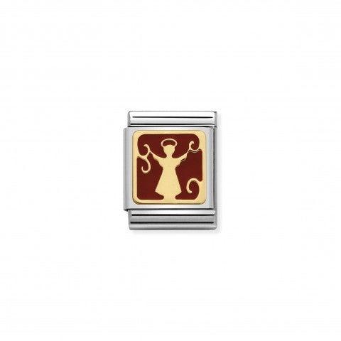 Link_Composable_Big_Angelo_rosso_Link_con_simbolo_natalizio_in_Oro_e_Smalto_rosso