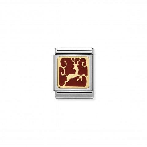 Link_Composable_Big_Renna_Link_Big_con_simbolo_natalizio_in_Oro_e_Smalto_rosso