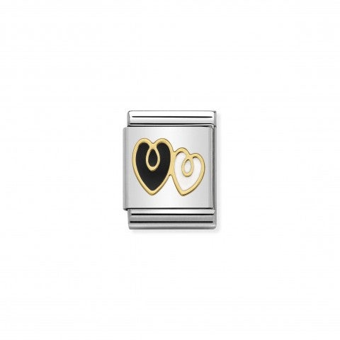 Composable_Big_Link_Double_Heart_black_and_white_Decorative_Big_Link_in_18K_gold_and_enamel