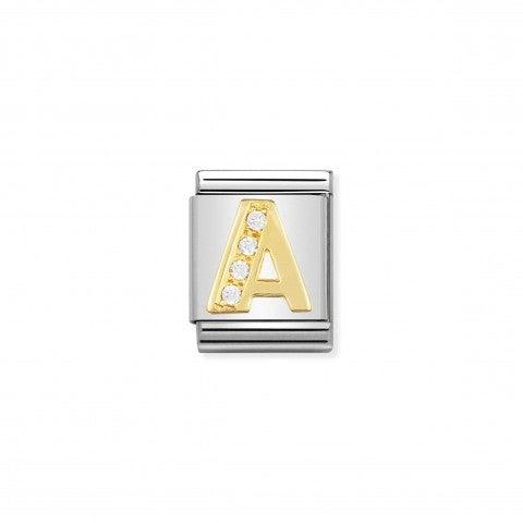 Link_Composable_Big_Lettera_A_in_Oro_con_Pietre_Link_con_lettera_alfabetica_in_Acciaio_e_Cubic_Zirconia