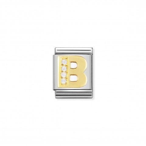 Link_Composable_Big_Lettera_B_in_Oro_con_Pietre_Link_con_lettera_B_in_Acciaio_e_Cubic_Zirconia