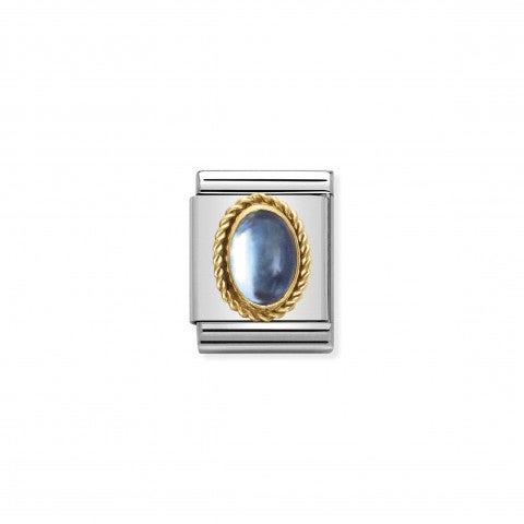 Composable_Big_Link_Pietra_Topazio_azzurro_Link_con_topazio_azzurro_in_Acciaio_e_Oro_750