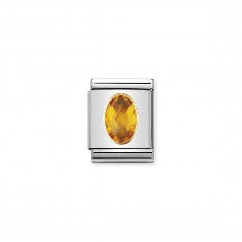 Composable_Big_Link_Cubic_Zirconia_giallo_Link_in_Oro_750_con_Cubic_Zirconia_sfaccettato