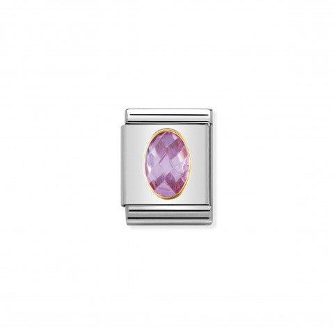 Composable_Big_Link_Cubic_Zirconia_rosa_Link_con_Cubic_Zirconia_rosa_in_Acciaio_e_Oro_750