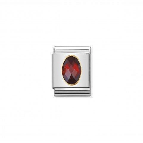 Composable_Big_Link_Cubic_Zirconia_rosso_Link_con_Pietra_sfaccettata_rossa_in_Acciaio_e_Oro_750