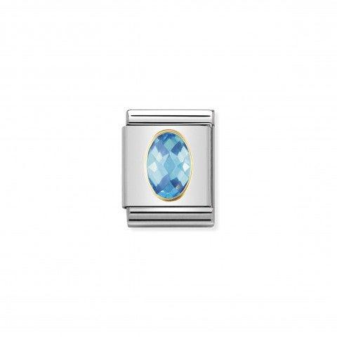 Composable_Big_Link_Cubic_Zirconia_celeste_Link_in_Acciaio_e_Oro_750_con_Pietra_sfaccettata