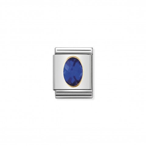 Composable_Big_Link_Cubic_Zirconia_blu_Link_con_Pietra_blu_sfaccettata_in_Oro_750