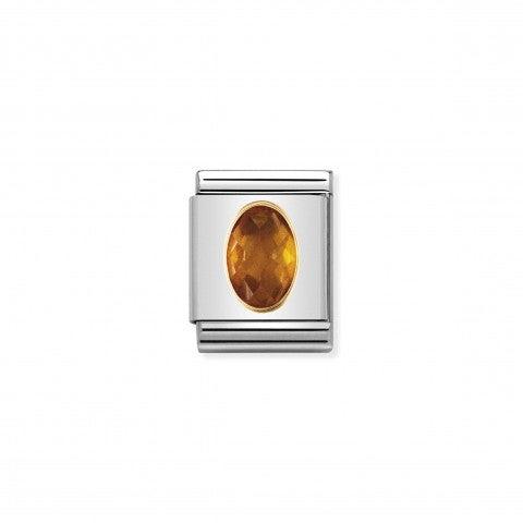 Composable_Big_Link_Cubic_Zirconia_arancione_Link_con_Cubic_Zirconia_in_Oro_750_e_Acciaio
