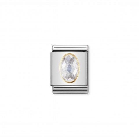Composable_Big_Link_Cubic_Zirconia_bianco_Link_con_Pietra_sfaccettata_in_Oro_750_e_Acciaio