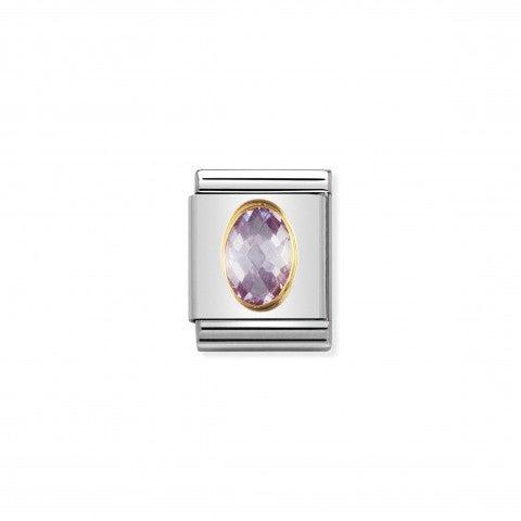 Composable_Big_Link_Cubic_Zirconia_lavanda_Link_con_Pietra_color_lavanda_in_Acciaio_e_Oro_750