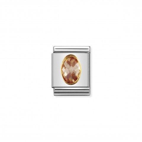 Composable_Big_Link_Cubic_Zirconia_champagne_Link_con_Cubic_Zirconia_in_Acciaio_e_dettagli_in_Oro_750