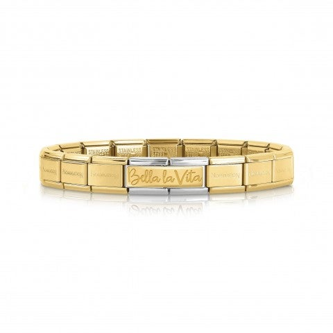 Composable_Bracelet_with_Bella_la_Vita_Double_Link_in_Yellow_Gold_Special_Edition_30_Years_bracelet_in_steel_and_18K_yellow_gold
