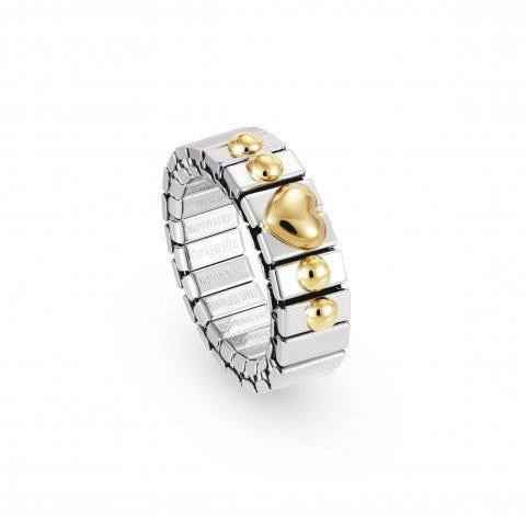 Stretch_Ring_with_Gold_Heart_Stainless_steel_and_18K_gold_ring_with_symbols