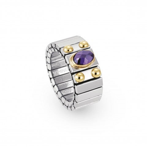 Stretch_Ring_with_Oval_Cubic_Zirconia_Steel_and_gold_ring_with_faceted_Cubic_Zirconia