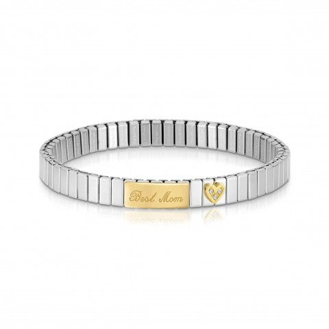 Stretchable_Bracelet_with_Best_Mom_in_Gold_Bracelet_with_plaque_and_Heart