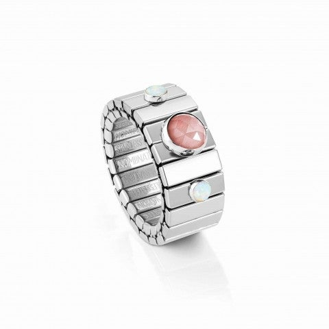 Extension_steel_ring,_White_opal_and_Zirconia_Limited_Ed,_Ring_with_Precious_stones