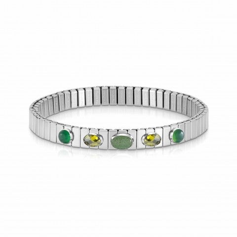 Extension_steel_bracelet,_5_green_stones_Ltd_Ed._Bracelet,_Green_Agate,_Avventurina_and_Zirconia