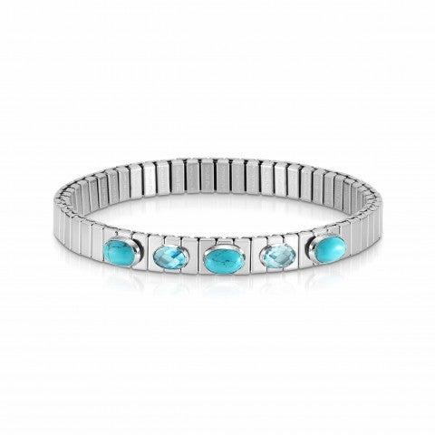 Extension_steel_bracelet,_5_blue_stones_Ltd_Ed._Bracelet,_Turquoise_and_Cubic_Zirconia