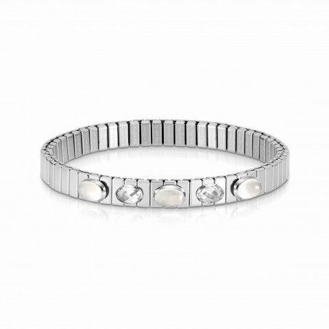 Extension_steel_bracelet,_5_white_stones_Ltd_Ed._Bracelet,_Moonstone_and_Cubic_Zirconia