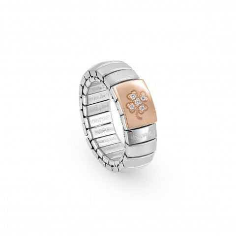 Stretch_Ring,_Rose_Gold_Four-Leaf_Clover_Zirconia_Ring_in_stainless_steel_with_Luck_symbol
