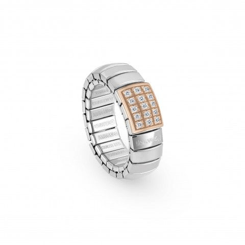 Stretch_Ring,_Rose_Gold_Rectangle,_white_Zirconia_Ring_in_stainless_steel_and_Cubic_Zirconia