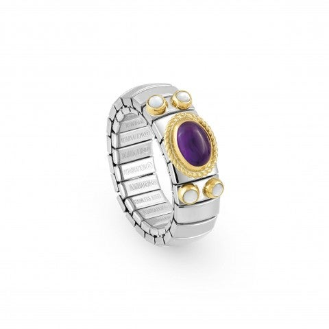 Stretch_Ring_with_Semiprecious_OvalStone_Ring_in_stainless_steel,_gold_and_oval_stone