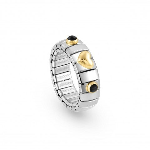 Stretch_Ring_with_Gold_Heart_and_Stones_Ring_in_stainless_steel,_18K_gold_and_natural_stones