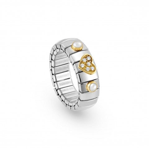 Stretch_Ring_with_Heart_and_white_Zirconia_Ring_in_18K_gold,_natural_gemstones_and_Zirconia