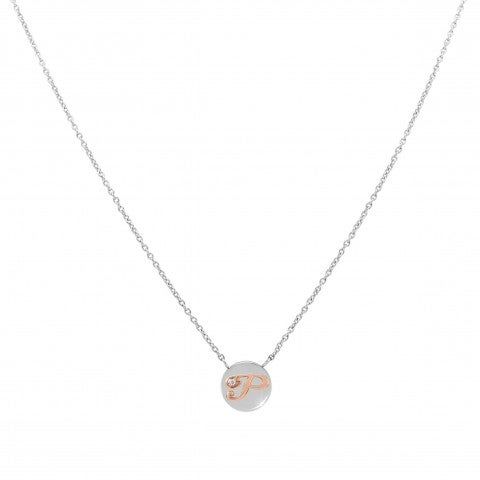 MyBonBons_Necklace_with_Letter_P_in_Rose_Gold_and_Stone_Necklace_with_Charm_in_Steel_and_Cubic_Zirconia