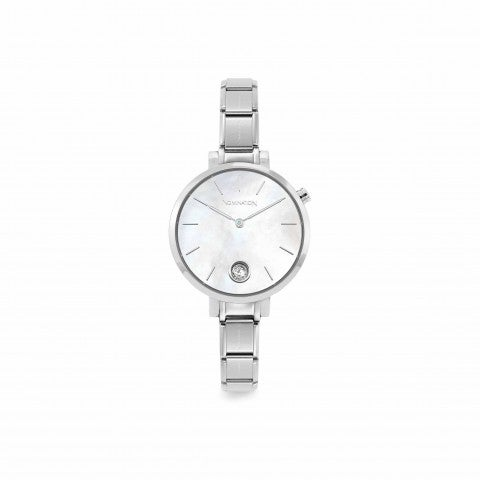 Composable_watch_Mother_of_Pearl,_Cubic_Zirconia_Stainless_steel_Watch_with_round_clock_face