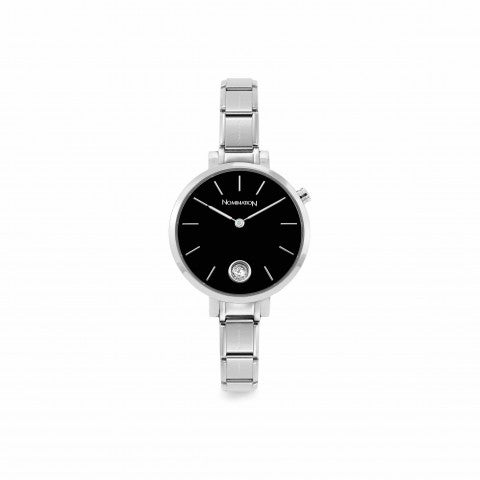 Composable_watch,_black_with_Cubic_Zirconia_Stainless_steel_Watch_with_Sunray_Black_clock_face