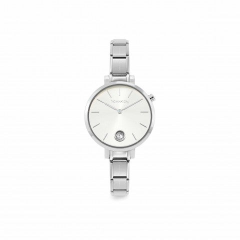 Composable_watch_with_Cubic_Zirconia_Stainless_steel_watch_with_Sunray_Silver_clock_face